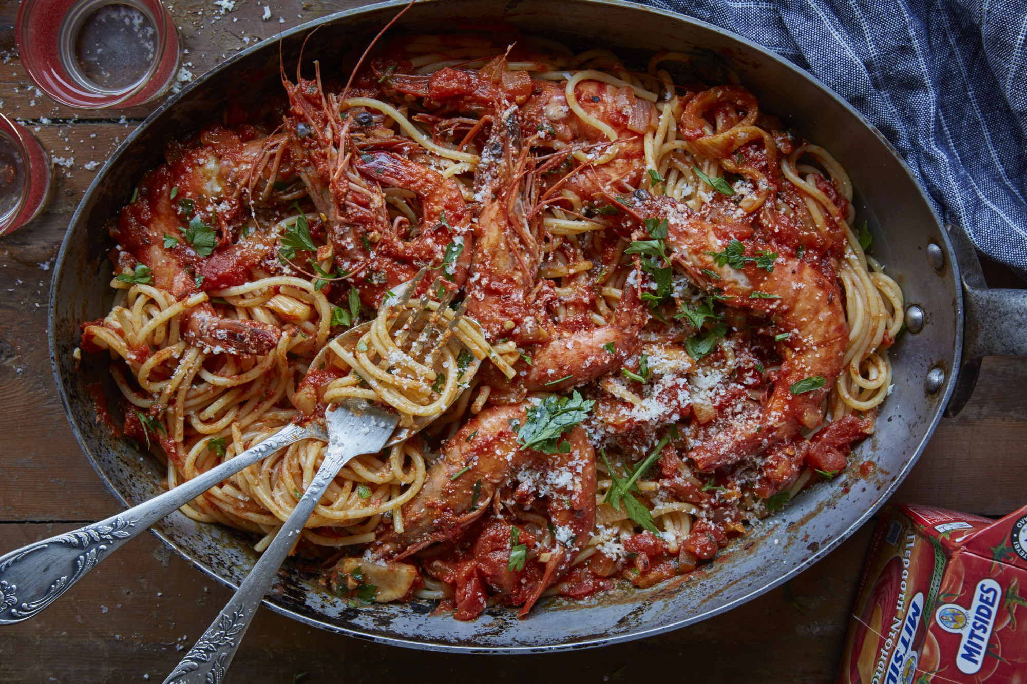 Mitsides Ouzo Spaghetti Mitsides - Prawn Ouzo Spaghetti1132